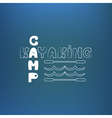 Kayaking camp poster banner On blue like vector image vector image