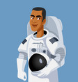male astronaut wearing space suit holding his