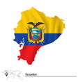 Map of Ecuador with flag vector image vector image