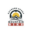 mountain bike emblem vector image vector image
