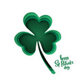 paper cut shapes with silhouette of shamrock and vector image vector image