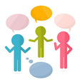Paper People with Speech Bubbles vector image vector image