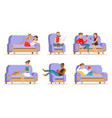 people relaxing at home on couch vector image vector image