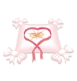 pillow with wedding rings and red heart ribbon vector image