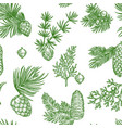 pine branches trees and cones seamless pattern vector image vector image