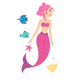 pink young pretty little mermaid princess in the vector image vector image