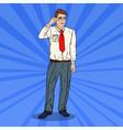 pop art businessman in eyeglasses vector image vector image