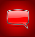 red speech bubble rectangular 3d icon with chrome vector image vector image