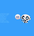 robot chatter bot say hi over circuit background vector image vector image