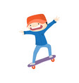 scared boy skateboarding down from hill isolated vector image vector image