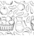 seamless pattern with apples on white background vector image