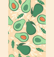 seamless pattern with avocado on a beige vector image