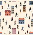 seamless pattern with people going to work vector image