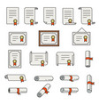 set certificate thin line icons vector image