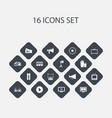 set of 16 editable cinema icons includes symbols vector image vector image
