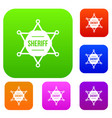 sheriff badge set collection vector image vector image