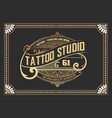 vintage tattoo logo with floral frame vector image