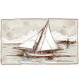 Vintage View of Sailing Ships on the Sea vector image vector image