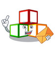 with envelope toy blocks cube blank cartoon wooden vector image
