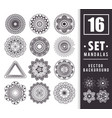 16 mandalas monochrome boho style set vector image
