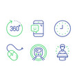 360 degrees computer mouse and smile icons set vector image vector image