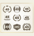 45 years anniversary logo set vector image