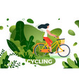 bicycle riding girl in park vector image vector image