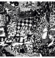 black and white seamless pattern graffiti sticker vector image vector image