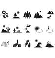 black landscape icons set vector image vector image
