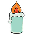 blue candle on white background vector image vector image