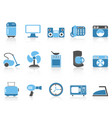 blue color series home devices icon set vector image