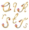 Bronze alphabet with colored gems letters QRST vector image vector image