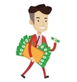 Businessman with briefcase full of money vector image vector image
