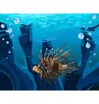 cartoon fish scorpion in the underwater reefs vector image vector image