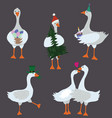 cartoon geese with holiday accessories set vector image vector image
