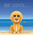 Cartoon lion sitting on beach text Be cool vector image