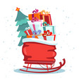 children s sledges with red bag presents and a vector image vector image
