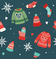 christmas pattern with cute sweaters hats socks vector image vector image