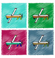 collection of flat shading style icons military vector image vector image