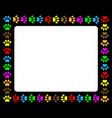 colorful animal paw prints frame vector image vector image