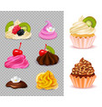 cupcake constructor realistic set vector image vector image