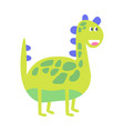 cute funny green dinosaur prehistoric animal vector image