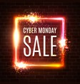 cyber monday sale text in neon laser square shape vector image vector image