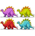 Dinosaur in four different colors vector image vector image