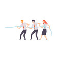 employees pulling end rope at business vector image vector image