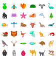 fauna icons set cartoon style vector image vector image