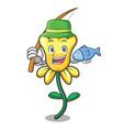 fishing daffodil flower mascot cartoon vector image