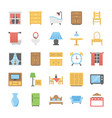 flat icons of furniture vector image