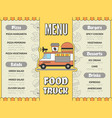 food truck menu outdoor kitchen in car mobile van vector image