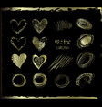 golden set of the hand drawing hearts vector image
